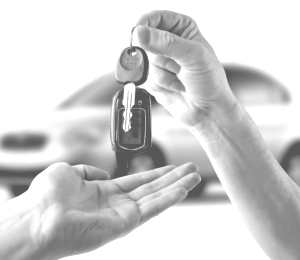 handing car keys to a person